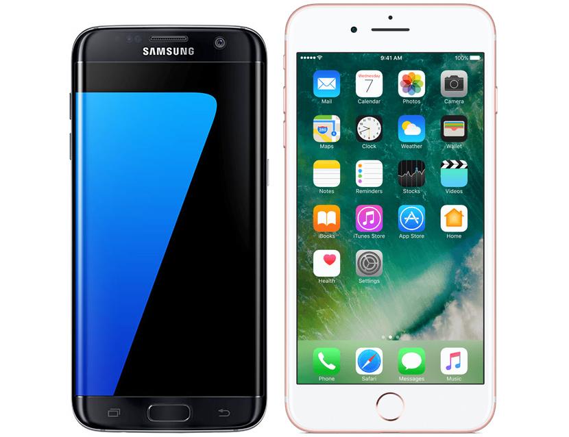 Samsung Galaxy S7 Edge och Apple iPhone 7 Plus har lika stora skärmar. Här  visas de bredvid varandra i samma skala. d2cab62dc4f25