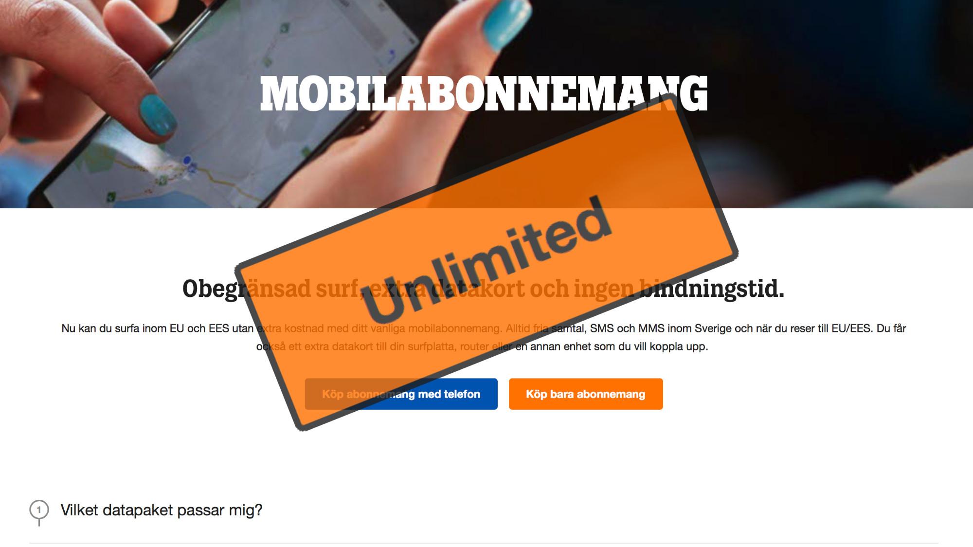 mobilabonnemang utan surf