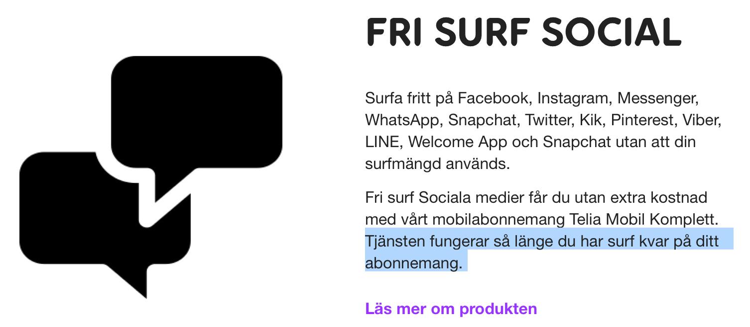 Telia Fri surf sociala