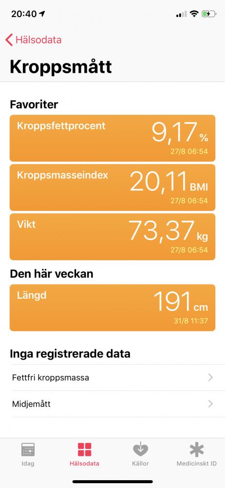 kroppsindex Watch OS