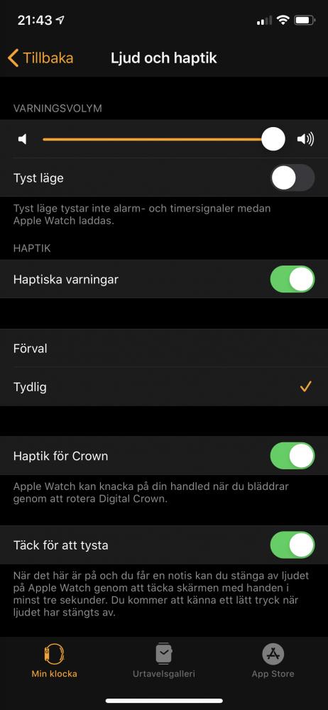 Apple watch 5 watch inställningar