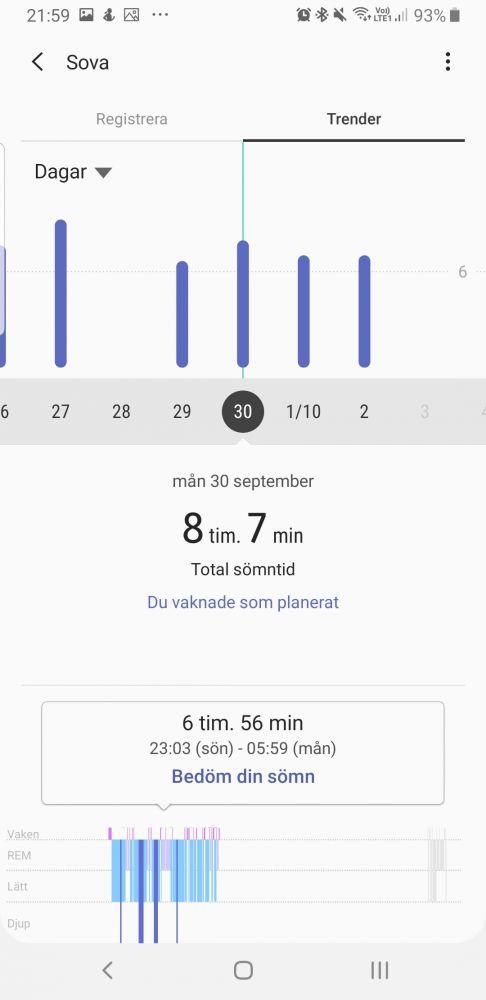 Samsung Health GW skärmdump av sömn