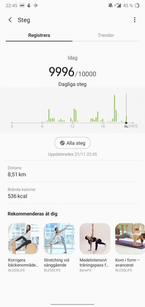 stegräknare GPS test Galaxy Watch Active 2 recension