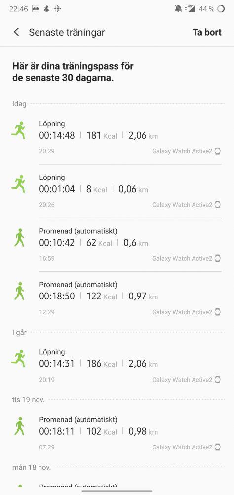 GPS test Galaxy Watch Active 2 träningstest