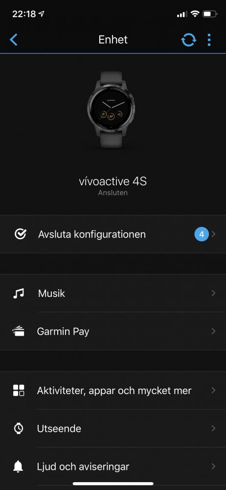 Garmin Vivoactive 4s telefoninställningar