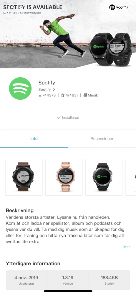 Garmin Vivoactive 4s spotify recension