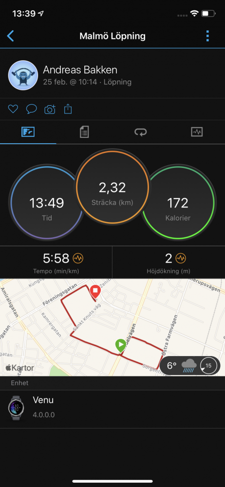 Jogging GPS-test Garmin Venu
