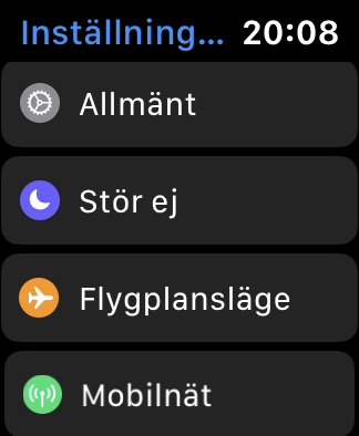 settings Watch OS 6