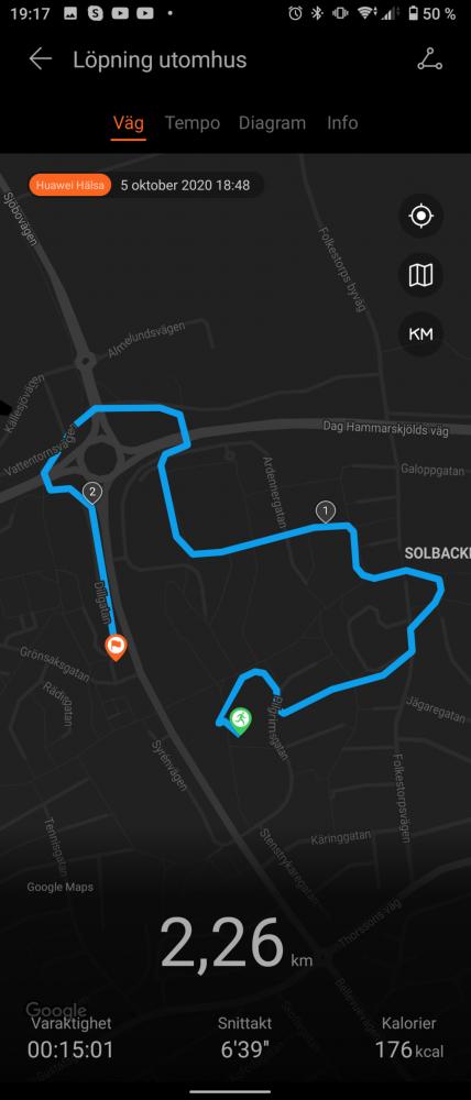 GPS jogging karta