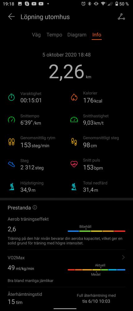 Effekt värden jogging GPS